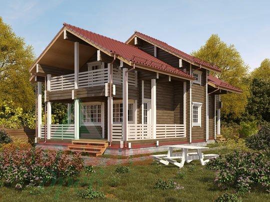 Дом из бруса «Череповец», проект дома с балконами и террасой.