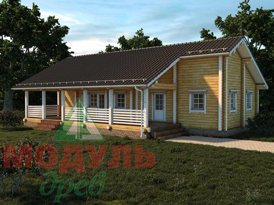 Дом из бруса «В бору». Проект деревянного брусового дома.