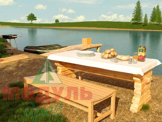 Деревянный садовый стол 2400х830